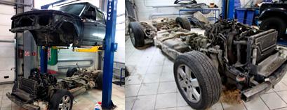 Land Rover Discovery – снятие кузова с рамы